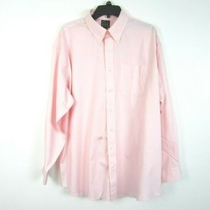 Jos A Bank Travelers Shirt Pink 17.5 NEW 35 Sleeve